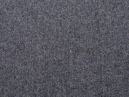Polyester & Wolle Herringbone Tweed Beschichtung Kleid Stoff, Marineblau, Meterware (Wolle-beschichtung Stoff)