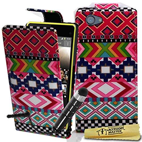 Diamante Compact (Accessory Master pu Leder Tasche mit Touchscreen Stylus für Sony Xperia Z1 Compact diamante weiß)