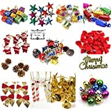 DECORATIVE BUCKETS PVC Mix Christmas Decorations Tree Ornaments (Multicolour) - Pack of 12
