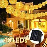 Nasharia Solar Lichterkette Außen Lampions,8 Meter 40 LED 2 Modi Warmweiß Laterne IP65 Wasserdicht Solar Beleuchtung Aussen für Garten, Hof,...