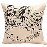 Zhouba Note de musique doux Taie d\'oreiller en lin Housse de coussin Maison Canapé Voiture Décor, Lin, Music Note and Stave, Music Note and Stave