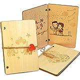 BETOY 2pcs Grußkarte aus Holz,Holzkarten,Glückwunschkarten Hochzeit,Handgefertigte beschreibbare Bambuskarte mit Herz…