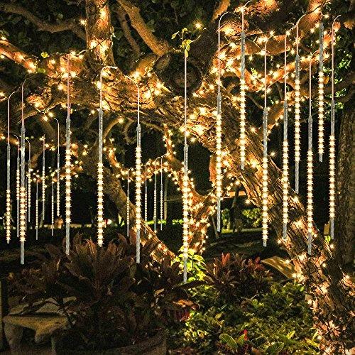 BlueFire Aufgerüstet Meteorschauer Regen Lichter, 50cm 10 Spirale Tubes 540 LEDs Wasserdichte Schneefall Lichterkette für Draussen/Innenraum/Garten/Hochzeit/Party/Weihnachten Dekoration (Warmweiß)