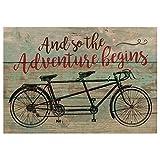 Monsety legno segni per home decor The Adventure Begins anticata verde con tandem bicicletta 20x 25cm piccolo legno design proverbi Plaque Sign Plaque