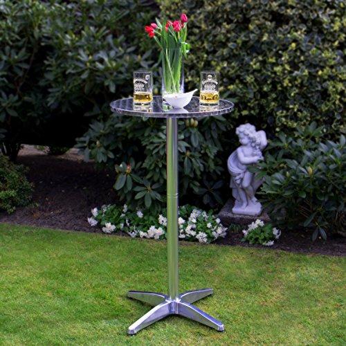 Vanage Stehtisch Bistrotisch in silber - der Bartisch ist höhenverstellbar - Aluminiumtisch gut geeignet als Beistelltisch oder Partytisch im Garten - 6