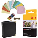 """Kodak- Papel fotográfico Kodak Premium ZINK de 2"""" x 3"""" (50 hojas) + Marcos de fotos cuadrados y coloridos para colgar + Álbum"""