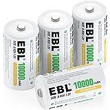 EBL oplaadbare batterijen D 10000 mAh 4 stuks hoge capaciteit Procyco batterijen met opbergdoosje