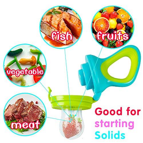 Fruchtsauger, Tinabless Schätzchen Schnuller Gemüse sauger für Schätzchen mit 3 Silikon Nippel Ersatz - 4