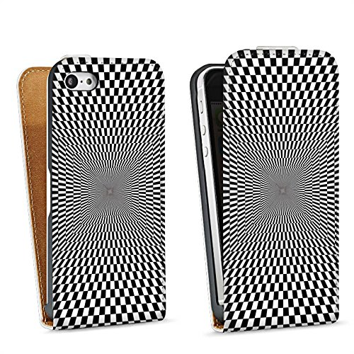Apple iPhone 5s Housse Étui Protection Coque Effet d'optique Confusion Noir et blanc Sac Downflip blanc
