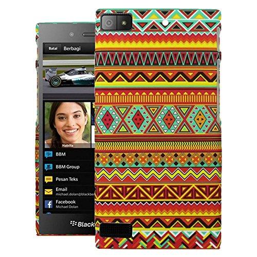 Heartly Aztec Tribal Art Printed Design Retro Color Armor Hard Bumper Back Case Cover For BlackBerry Z3 - Vintage Orange