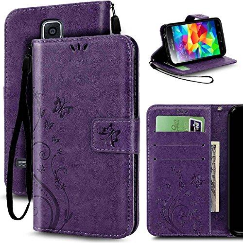 KUAWEI Custodia Samsung S5 Custodia Galaxy S5 Neo Cover Flip Wallet Case Cover per Samsung Galaxy S5 S5 Neo (Porpora)
