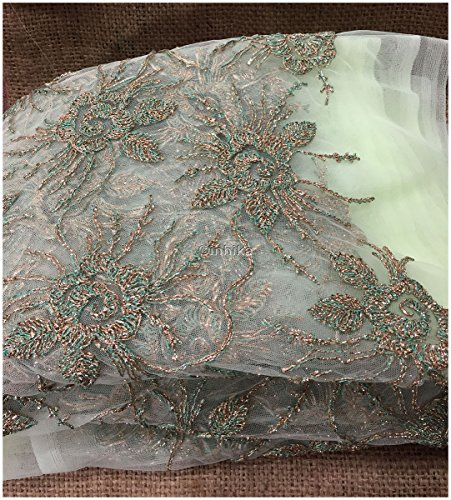 Kurti Material Blouse Fabric by meter pista green net gold silver embroidery...