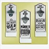 Wand-Flaschenöffner Kronkorkensammler 1 Öffner Spruch Sortiert Verschiedene Sprüche