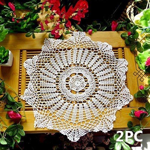 ustide fait main Crochet napperons en coton design floral Sets de table Set de table en dentelle Sets de table rond blanc 2,15.7-inch