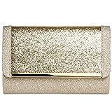 CASPAR TA345 Donna Pochette Grande XL Brillante, Colore:oro;Dimensioni:Taglia unica