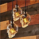 AMZH Skull Head Glass Chandelier 3-head disk E14 110V 220V Skull Lamp Width 16c height 16CM hanging length 1.6m