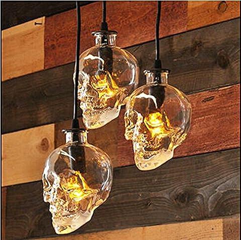 AMZH Skull Head Glass Chandelier 3-head disk E14 110V 220V Skull Lamp Width 16c height 16CM hanging length