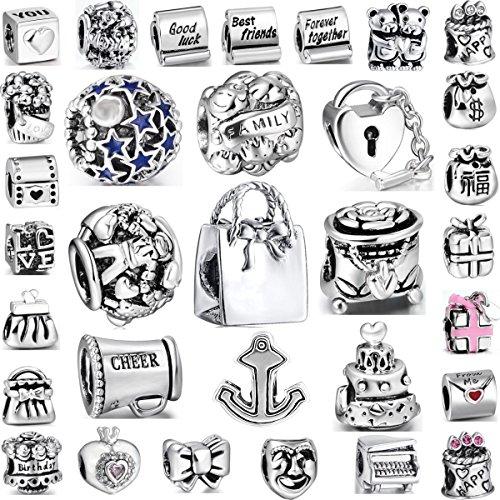 Akki beads set di 25 charms in vetro di murano, colore turchese, blu, argento, rosso, viola, rosa, compatibili con collane e bracciali pandora, acciaio inossidabile, colore: 003 uni, cod. akc-005-179-003