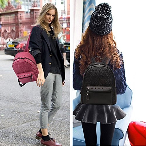 (G-AVERIL) Lady PU Pelle Casual Borsa Top Handle Bag Borsa scuola zaino cerniera di chiusura borsa per le donne blu