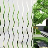 Umi.Ventana Vinilo Adhesivo Ondulada Rayas Decoracion Marina Película Estática Ventana para Hogar Decoración Calor Control y