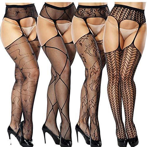 Andibeiqi 4 pack calze per reggicalze sexy donna maglia calze a rete bodystocking netto reggicalze calze collants nero