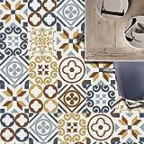 Z Stickers muraux Carreaux en Vintage Salle de Bain et Cuisine | adhésif Sticker Feuille pour Carreaux Salle de Bain et crédence Cuisine Jaune CZ043, 20 * 20cm