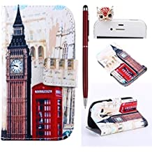 Felfy London Bell Tower PU Cuero Billetera Funda Flip Carcasa Para Samsung Galaxy S3 mini i8190 + 1x Rojo Búho Enchufe del Polvo + 1x Rojo Lápiz Táctil