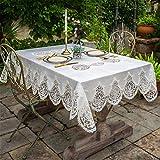 MJK Chemins de table, Table de salle à manger Dinning Home 15X86 inch (40X220Cm)   Home White Garden Lace Coureur de table européen de luxe