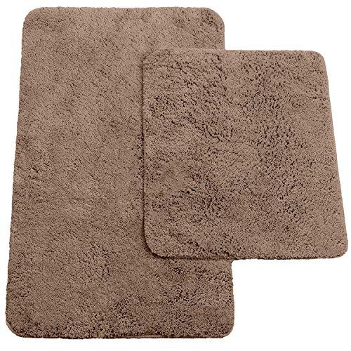 Badematten 2er-Set bestehen aus Badvorleger: ca. 50/80cm und WC-Vorleger ca. 45/50cm - Farbe: Beige - von Brandsseller