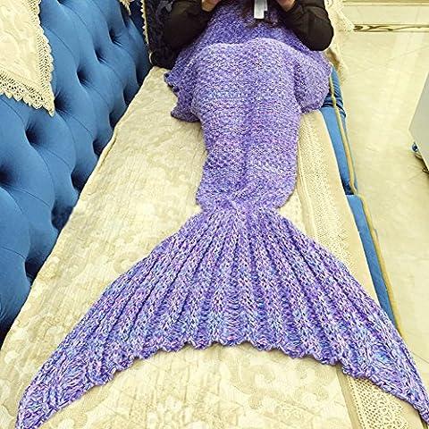 Mermaid Tail Blanket,Handmade Crochet Sleeping Bag prepare in air conditioning for Sofa Bed Living Room