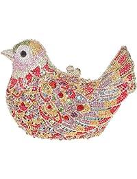 Santimon Carteras de Mano Bolsos de Mujer Clutch Pájaro Estuche Duro Lujo Bolsos Cristal Bolsa De Noche Con Correa Demonstable Y Caja De Regalo 15 Colores