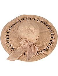 ITODA Sombrero de Paja Sol Cap Hat Gorra Mujer Protección Solar  Transpirable Anti-UV Plegable 2f4eba4a5c0