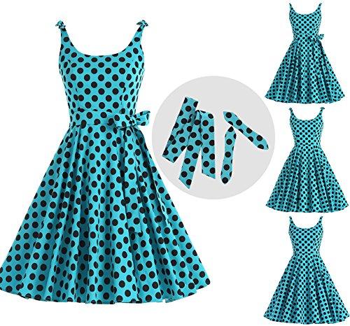 Bbonlinedress Vintage rétro 1950's Audrey Hepburn robe de soirée cocktail année 50 Rockabilly Bleu-Blanc