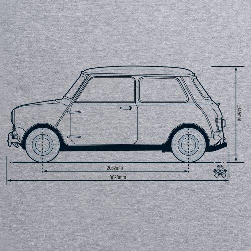PistonHeads Classic British City Car T-Shirt, Damen Grau Meliert