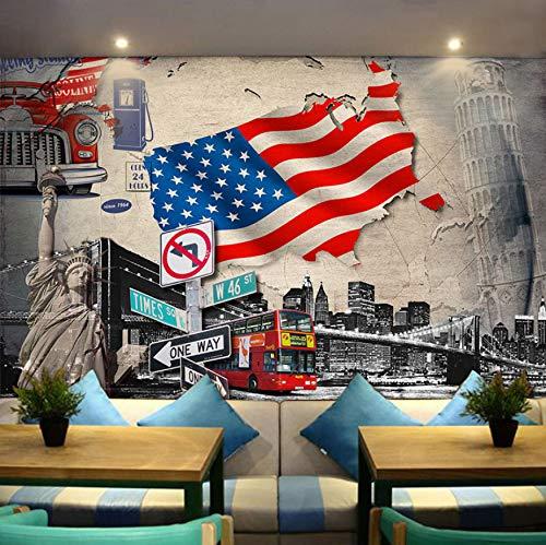 Fototapete 3d wald wandbild schlafzimmer wohnzimmer wanddeko tapete wallpaper Mode Elegant Großes Auto Continental Gebäude Amerikanische Flagge Thema Restaurant Hotel Bus Wallpaper