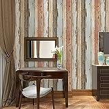 ZLYAYA Papiers peints,Stickers muraux,Retro Vintage Bois Simulation 3D Fond d'une boutique de vêtements Coiffure Bar vent industrielle bois mur papier peint...