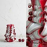 Klein, Rot und Weiß - helle Farben - dekorativ geschnitzte Kerze - EveCandles