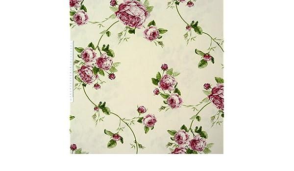 Gardinenstoff Stoff Dekostoff Meterware THERESA Rosenmuster creme rosa pink grün