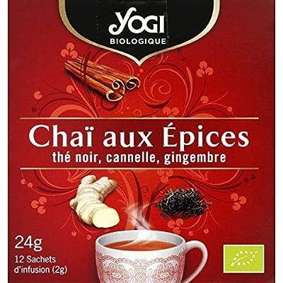 Yogi - Infusion Chaï aux épices thé noir, cannelle, gingembre - Les 12 sachets de 2g - Pirx Unitaire - Livraison Gratuit Sous 3 Jours
