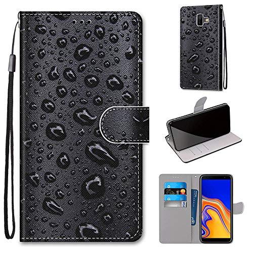 Miagon Flip PU Leder Schutzhülle für Samsung Galaxy J6 Plus,Bunt Muster Hülle Brieftasche Case Cover Ständer mit Kartenfächer Trageschlaufe,Wasser Tropfen