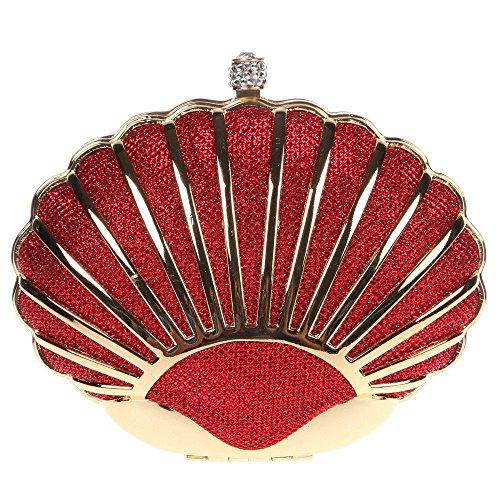 Damen Clutch Abendtasche Handtasche Geldbörse Luxus Funkelt Metall Muschel Tasche mit wechselbare Trageketten von Santimon(7 Kolorit) Rot