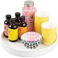 mDesign Lazy Susan plateau tournant en plastique pour épices, aliments, etc. – accessoire de rangement pour placard…