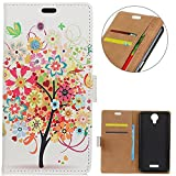 KM-WEN® Case for Wiko Jerry 2 (5 Inch) Book Style Red Tree
