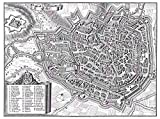 MAP ANTIQUE MERIAN 1650 ERFURT CITY PLAN OLD LARGE REPLICA