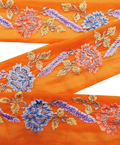 vintage-indian-sari-border-utilise-brode-garniture-couture-ruban-orange-1yd-dentelle