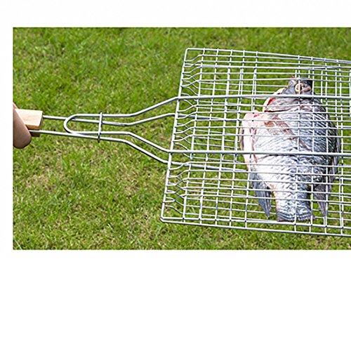 61xSX13BJqL - B & C. Raum 304 Edelstahl Grillkorb Drahtgitter Für Fisch Steak BBQ Grill Zubehör Mit Holzgriff silber
