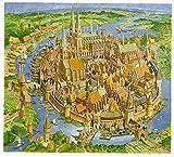 Die Hansestadt im Mittelalter - Haus um Haus: Puzzle mit 1200 Teilen, Motivgröße 61,5 x 61,5 cm, plus Begleitheft -