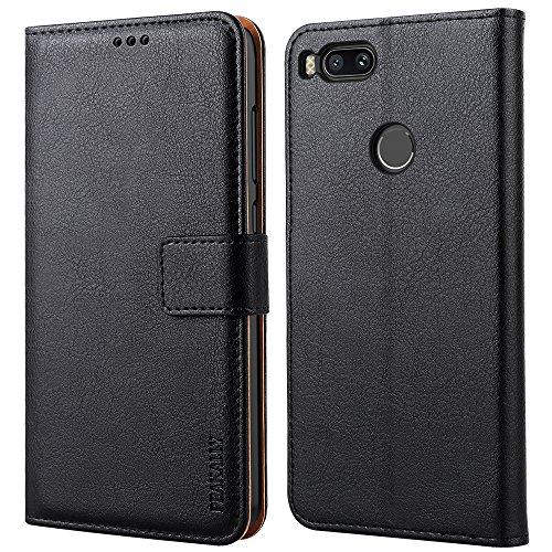 Peakally Cover per Xiaomi Mi A1, Flip Caso in PU Pelle Premium Portafoglio Custodia per Xiaomi Mi A1, [Kickstand] [Slot per Schede] [Chiusura Magnetica]-Nero