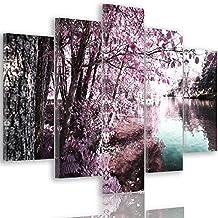 Feeby Frames, Cuadro en lienzo - 5 partes - Cuadro impresión, Cuadro decoración, Canvas Tipo A, 100x200 cm, BANCO, VISTA, LAGO, HOJAS, ÁRBOLES, ROSA, TURQUESA