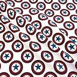 Stoff Baumwolle Softshell weiß rot blau Stern Kreis neu